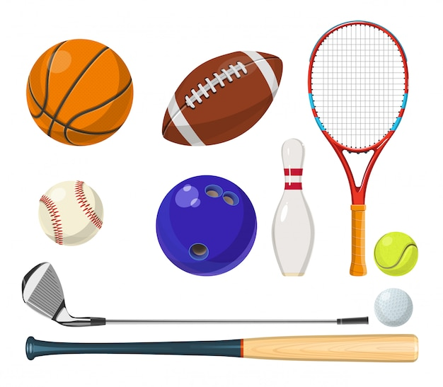 Vector sports equipment in cartoon style. balls, rackets, golf sticks and other vector illustrations Premium Vector