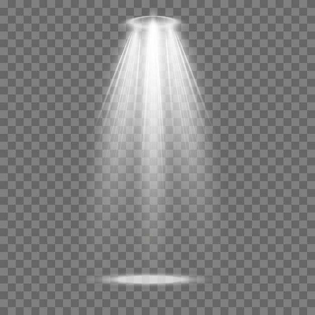 벡터 스포트라이트. 조명 효과입니다. 광선 격리 된 흰색 투명 조명 효과입니다. 프리미엄 벡터