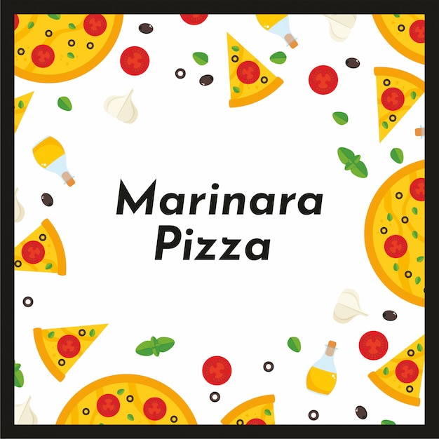 Vector square frame of pizza and ingredients. Premium Vector