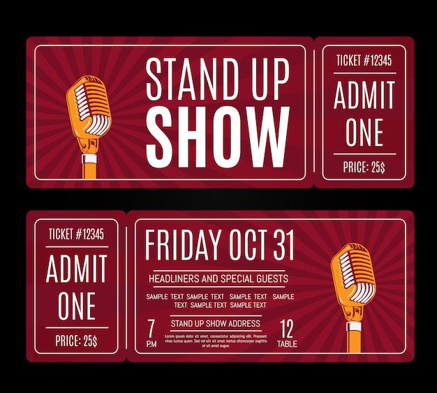 Vector stand up show tickets with retro microphone on sunburst background. humor entertainment and perform illustration Premium Vector
