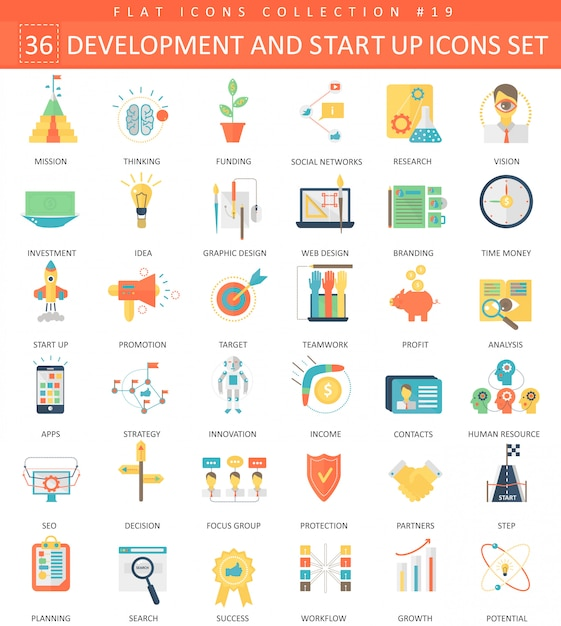 Vector startup and development flat icons Premium Vector