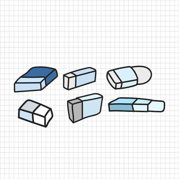 Vector of stationery doodle style Free Vector