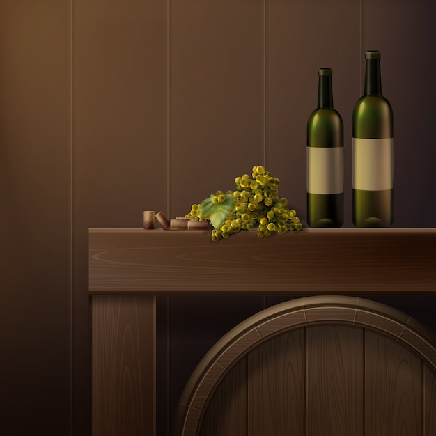 Vector still life of bottles, grapes and wooden barrel isolated on colored background Free Vector