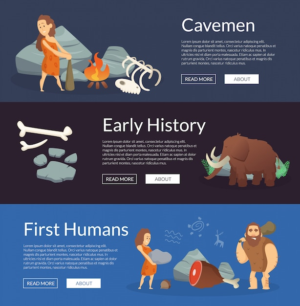 Vector stone age cartoon cavemen banners illustration Premium Vector