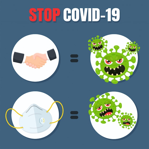 Vector stops the corona virus transmission by stopping holding hands and wearing a mask. Premium Vector