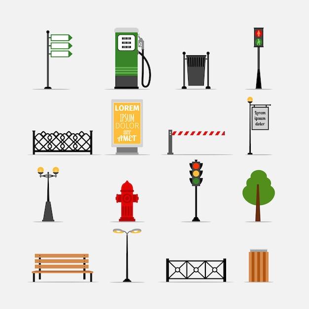 Insieme di elementi di strada vettoriale. panchina e tabellone per le affissioni, idrante e semafori, lampioni e recinzione Vettore gratuito