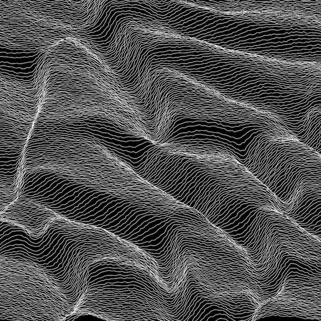 벡터 줄무늬 회색조 배경입니다. 추상 라인 파도. 음파 진동. 펑키 컬 라인. 우아한 물결 모양의 질감. 표면 왜곡. 검정색과 흰색. 무료 벡터