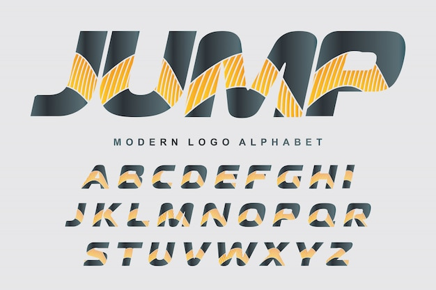 Vector of stylized colorful font and alphabet for logo designs Premium Vector