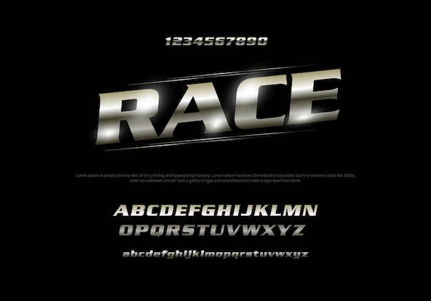 Vector of stylized modern font and alphabet. racing typography Premium Vector