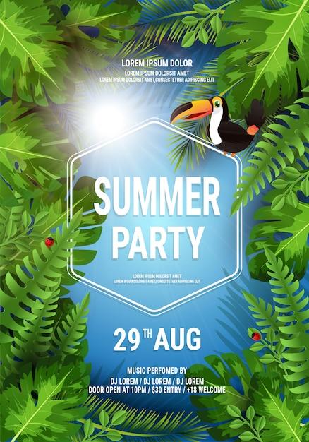 Vector summer beach party flyer illustration Premium Vector