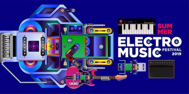 Vector summer electro music festival banner design template Premium Vector