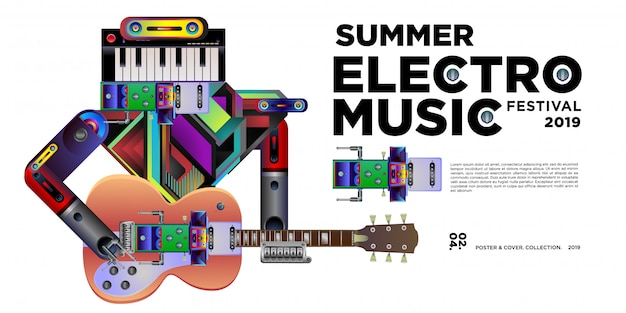 Vector summer electro music festival banner design template Premium Vector
