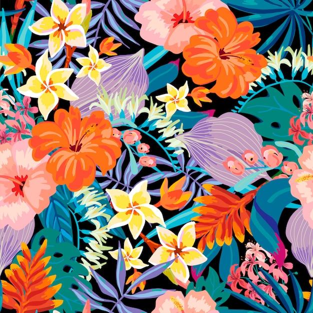 Vector summer exotic seamless pattern Premium Vector