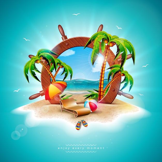 Vector summer holiday illustration with ship steering wheel Premium Vector