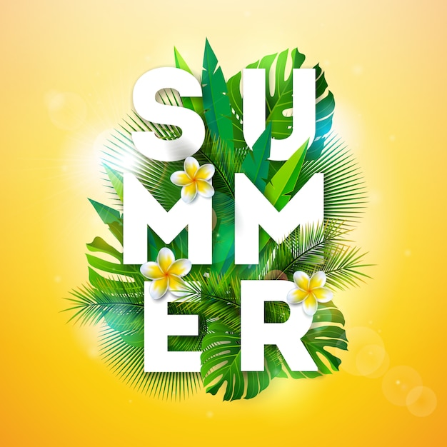 Vector summer holiday illustration with tropical palm leaves Premium Vector