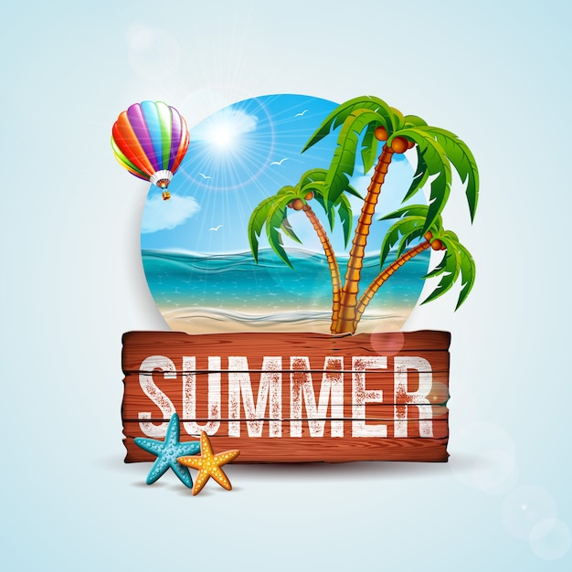 Vector summer holiday illustration with wood board and exotic palm trees Premium Vector