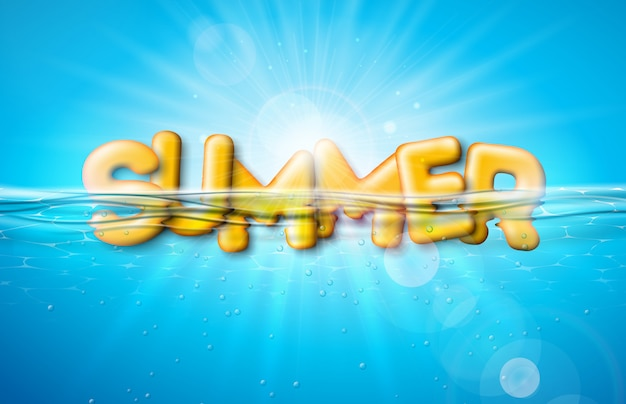 Vector summer illustration with 3d letter on underwater background. Premium Vector