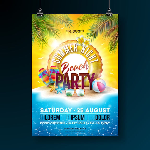Vector summer night beach party flyer design with tropical palm leaves and float Free Vector