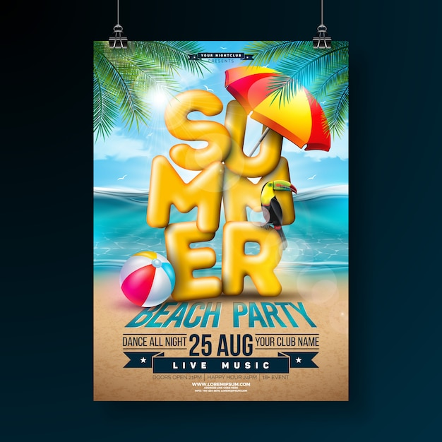 Vector summer party flyer design with 3d typography letter and tropical palm leaves Free Vector