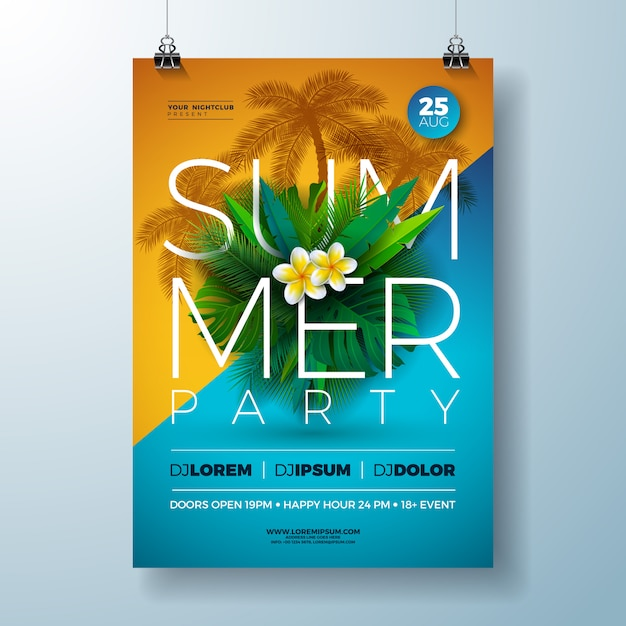 Vector summer party flyer design with flower and tropical palm leaves Free Vector