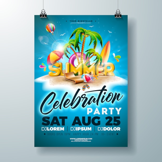 Vector summer party flyer or poster design on tropical island Premium Vector