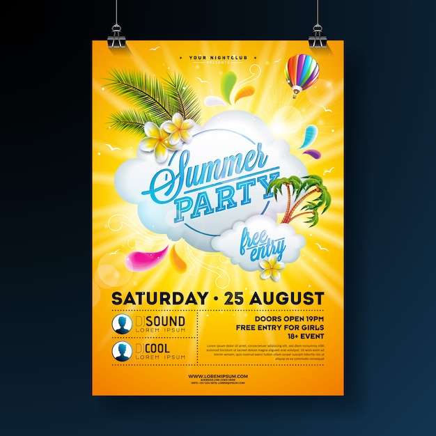 Vector summer party poster template design with flower and palm trees Premium Vector