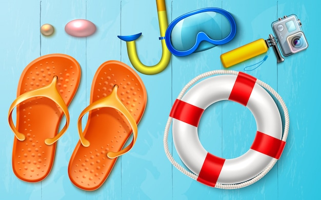 Vector summer sea vacation snorkel camera flops Premium Vector