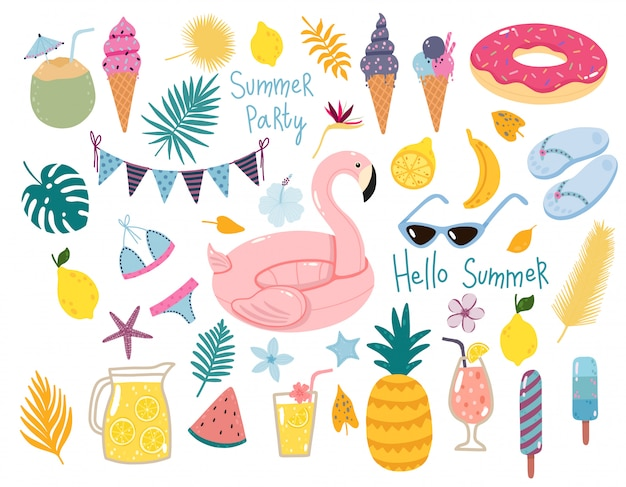Vector summer set with pool floats, cocktails, tropical fruits, ice creams, palm leaves. Premium Vector