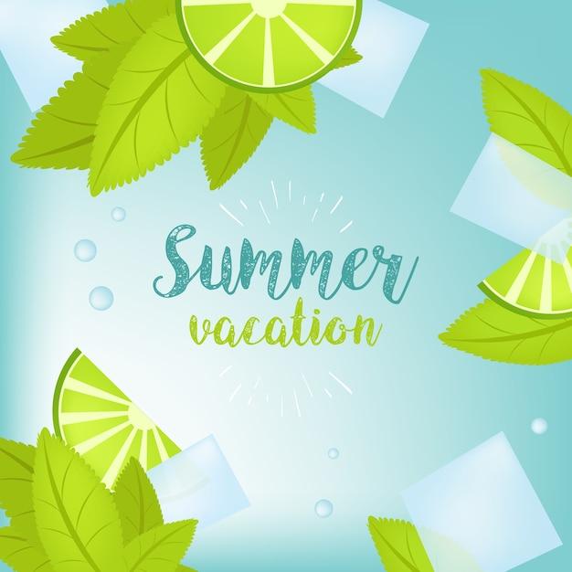 ベクトル夏時間休日の活字図。熱帯植物、ヤシの木、果物、花。ライムとアイスキューブ。モヒート。 eps 10デザイン。 Premiumベクター
