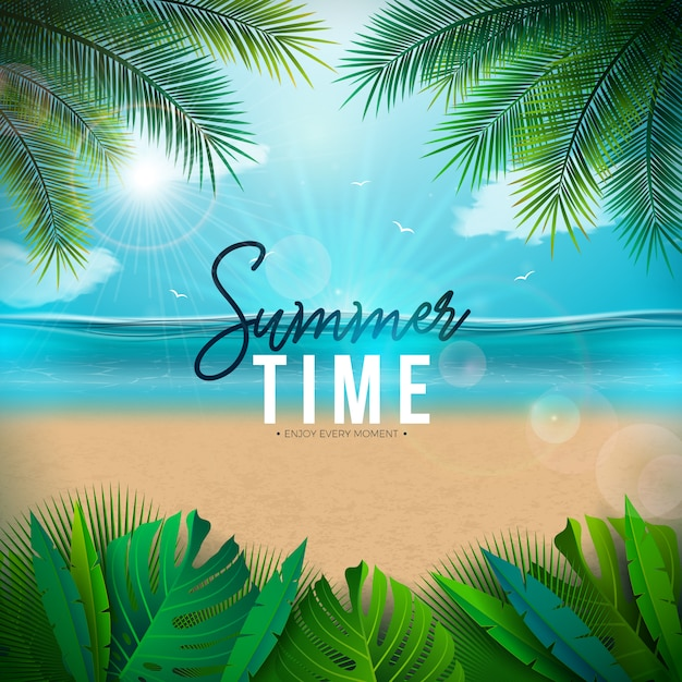 Vector summer time illustration with palm leaves and ocean landscape Free Vector