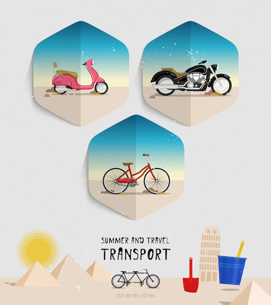 Vector summer and travel transport icons set. Premium Vector