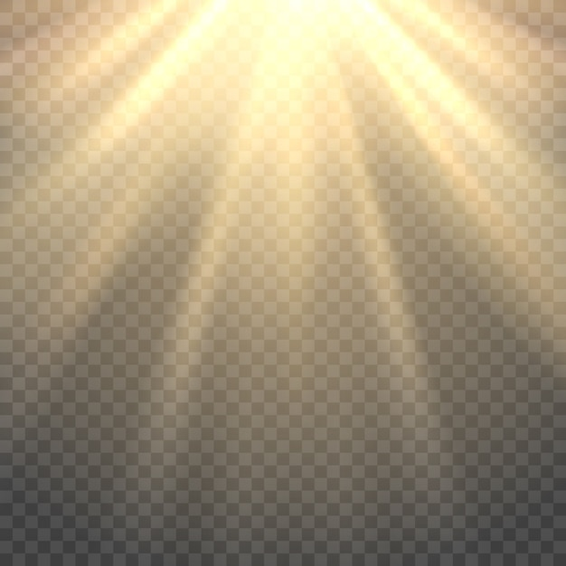 Vector sunlight on transparent background Premium Vector