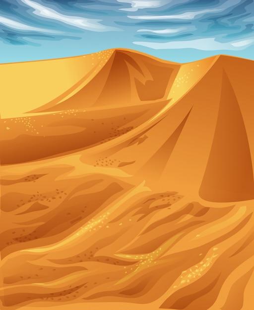 Vector sunny desert and blue sky. Premium Vector