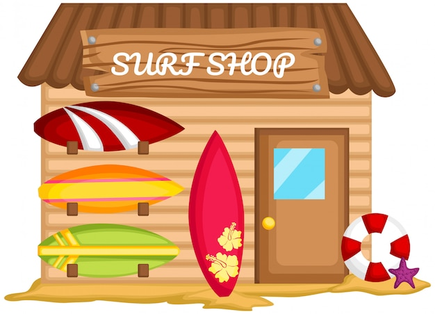 A vector of a surf shack in the beach Premium Vector
