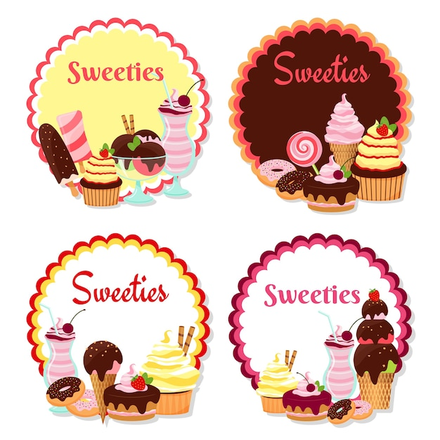 Vector sweet badges with ice cream and cakes isolated on white Free Vector