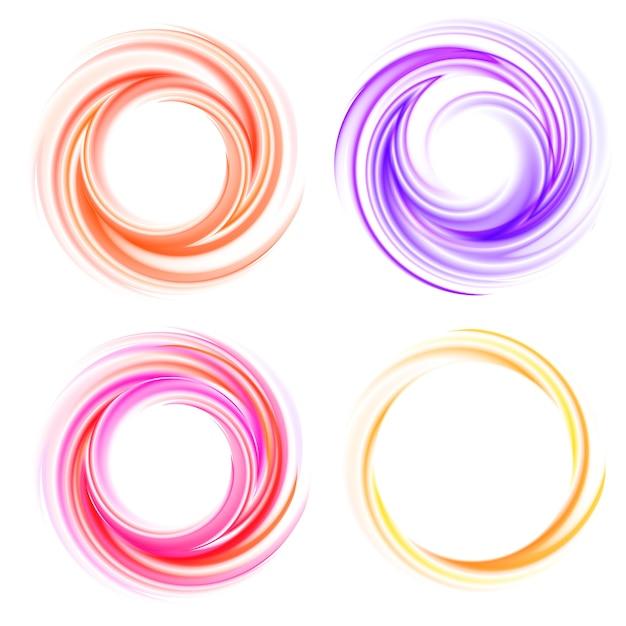 ベクトル渦巻きセット。カラースパイラル、エフェクトカール、光沢のある明るい、クルクル回すと動き 無料ベクター
