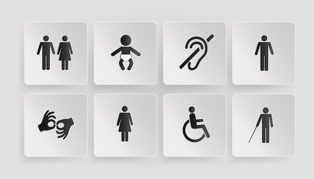 Векторные символы инвалидов, туалетов, детской и матери комнаты Бесплатные векторы