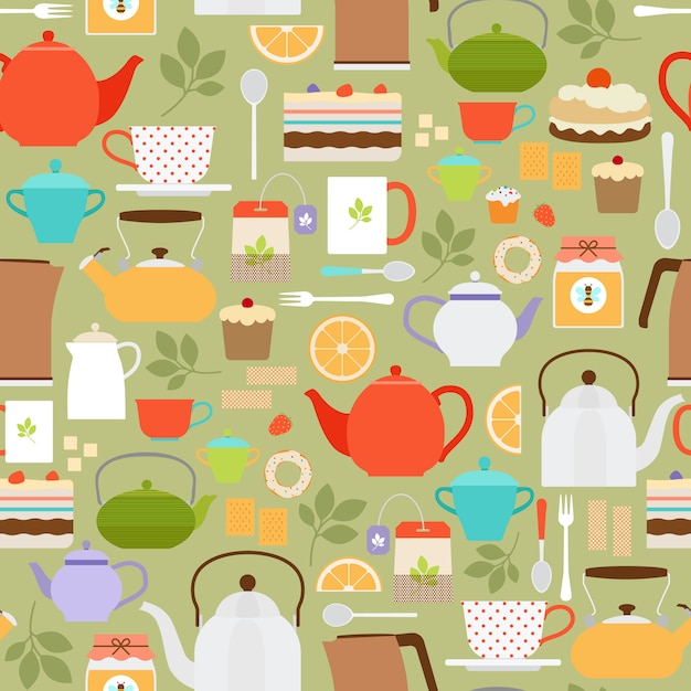 Vector tea seamless pattern with teapots and cups Premium Vector
