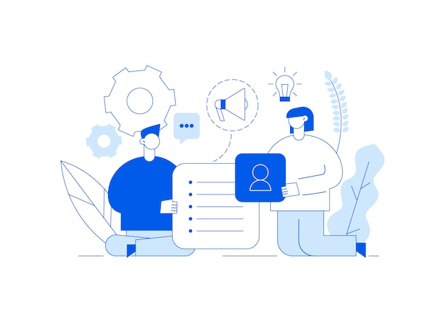 Vector teamwork and business strategy illustration Premium Vector