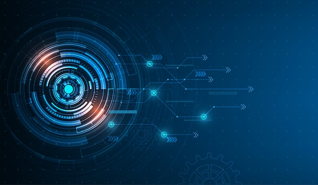 Vector tech circle and technology background. Premium Vector