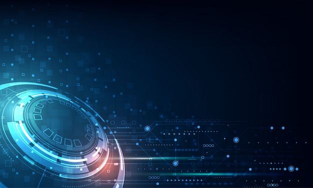 Vector tech circle and technology background Premium Vector