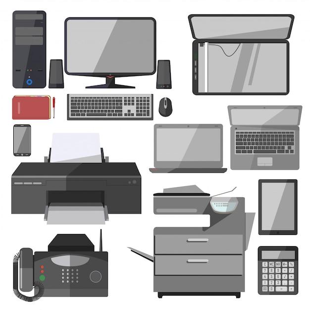 Vector technology equipment for office. Premium Vector