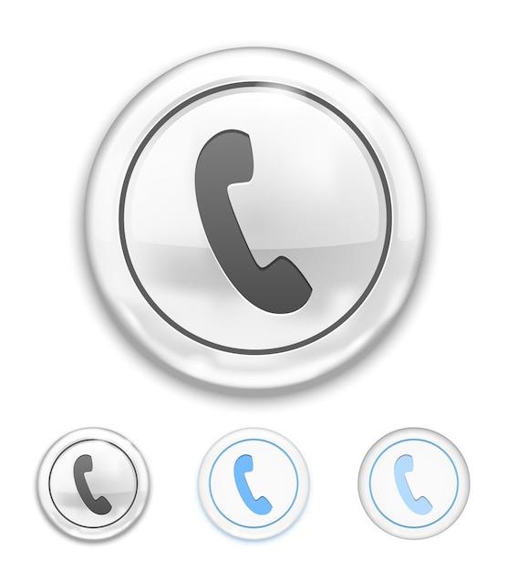 Icona del telefono di vettore sul pulsante su bianco Vettore gratuito