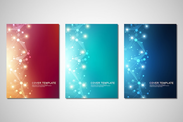 Vector template for brochure or cover with molecular structure background Premium Vector