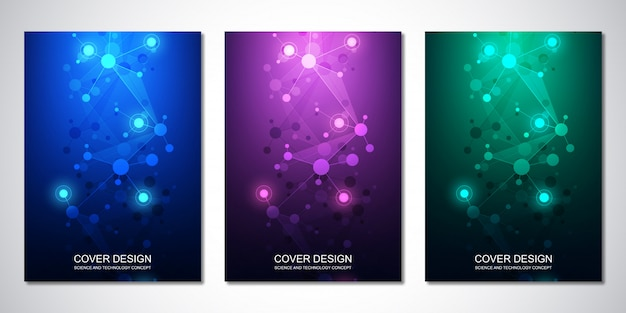 Vector template for cover or brochure, with molecules background and neural network Premium Vector