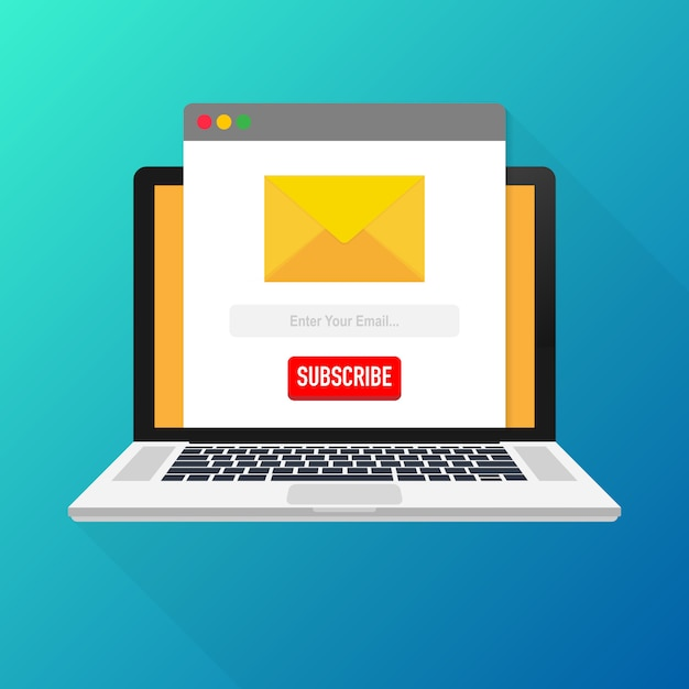 Vector Template Email Subscribe On Laptop Submit Form