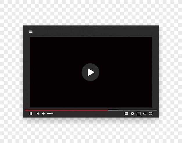 Вектор шаблон веб-видео плеер. макет интернет-потока Premium векторы