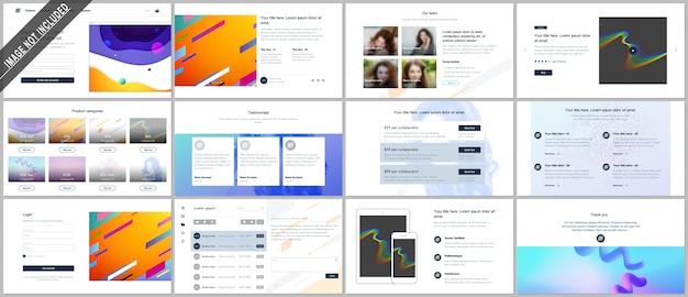 Векторные шаблоны для веб-дизайна, минимальные презентации, портфолио с геометрическими красочными узорами, градиенты, плавные формы. ui, ux, gui. дизайн заголовков, панели инструментов, страницы функций, блога и т. д. Premium векторы