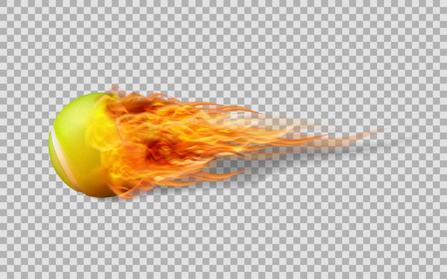 Vector tennis ball in fire on transparent background. Premium Vector