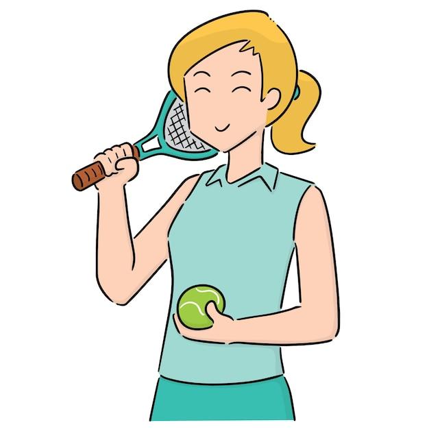 Vector of tennis player Premium Vector